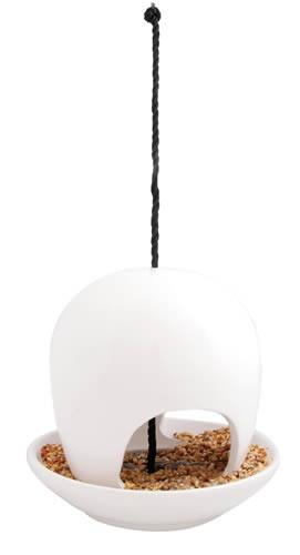 Vogel Futterhaus Keramik - Weiß